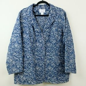 Susan Graver Denim Jacket with White Detailing, 1X